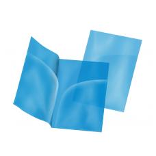 Папка-уголок А4, синяя, два кармана, пластик 180 мкм
