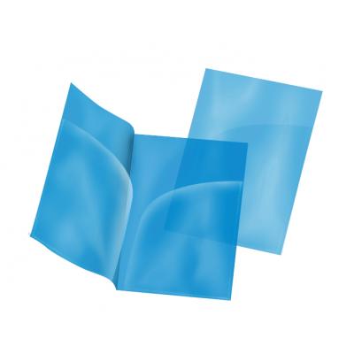 Пластиковая папка-уголок А4 синяя, два кармана, 180 мк