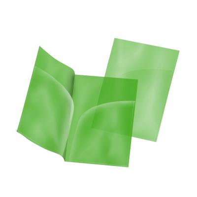 Пластиковая папка-уголок А4 зелёная, два кармана, 180 мк