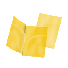 Папка-уголок А4, жёлтая, два кармана, пластик 180 мкм