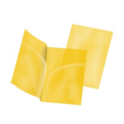 Пластиковая папка-уголок А4 жёлтая, два кармана, 180 мк