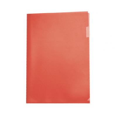 Пластиковая папка-уголок А4 красная, без карманов, 120 мк