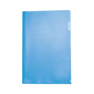 Пластиковая папка-уголок А4 синяя, без карманов, 180 мк