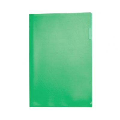 Пластиковая папка-уголок А4 зелёная, без карманов, 180 мк