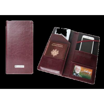 Тревел-обложка 120х240, для путешествий, кожзам, бордовая