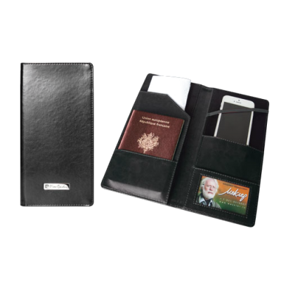 Тревел-обложка 120х240, для путешествий, кожзам, чёрная