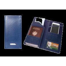 Тревел-обложка для документов, кожзам, синяя