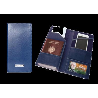Тревел-обложка 120х240, для путешествий, кожзам, синяя