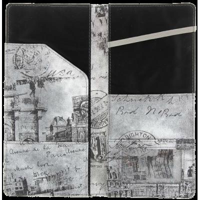 Тревел-обложка 120х240, для путешествий, кожзам, серая