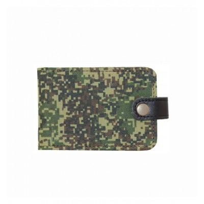 Визитница карманная на 40 визиток, камуфляжная ткань, военный принт - пиксели или лесной
